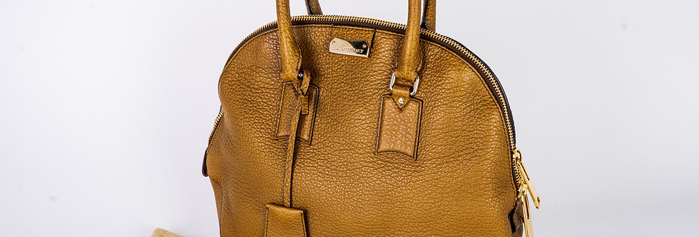 Burberry Bridle Soft Leather Bag In Mustard front view