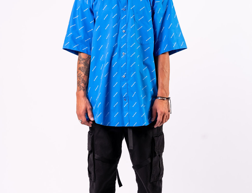 Balenciaga Oversized Shirt In Blue front view
