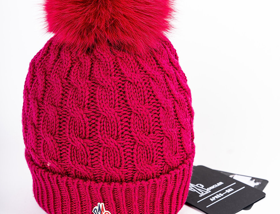 Moncler Bobble Hat in Pink front view