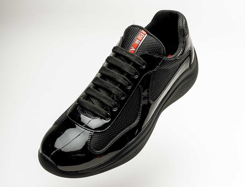 Prada Americas Cup Sneakers In Black Patent