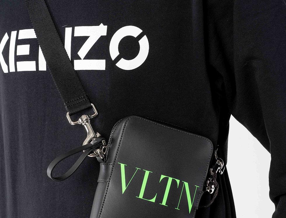 "Valentino Black Crossbody Bag ""VLTN"" Fluro"