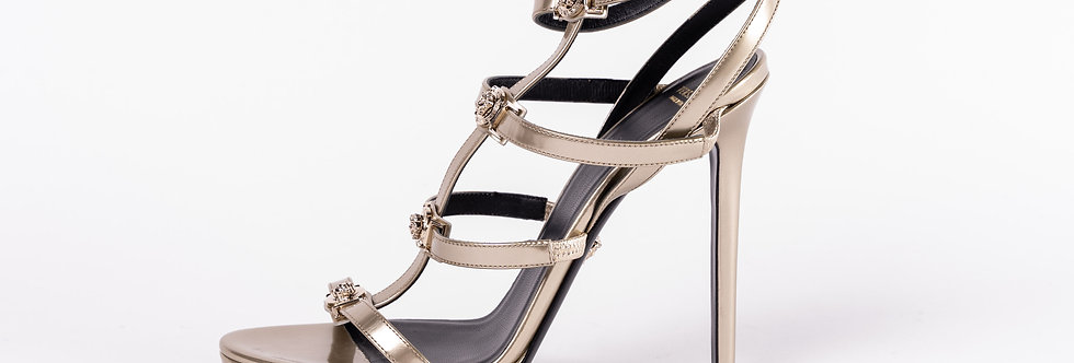 Versace Silver Heeled Shoe side view