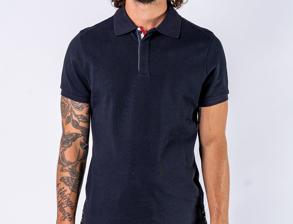 Moncler Navy Polo T-Shirt front view