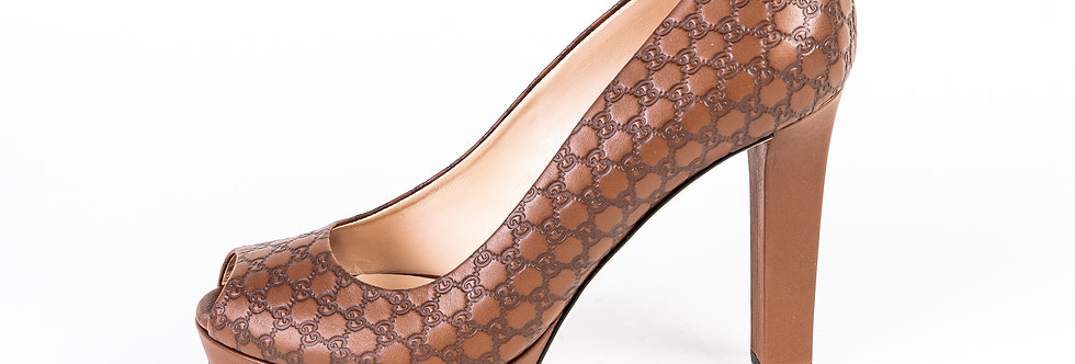 Gucci Embroidered Heel In Brown side view