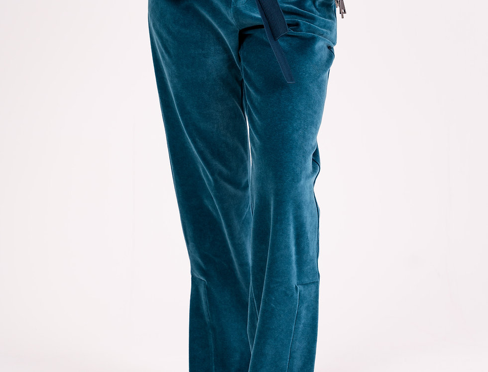 Moncler Velour Trousers In Blue