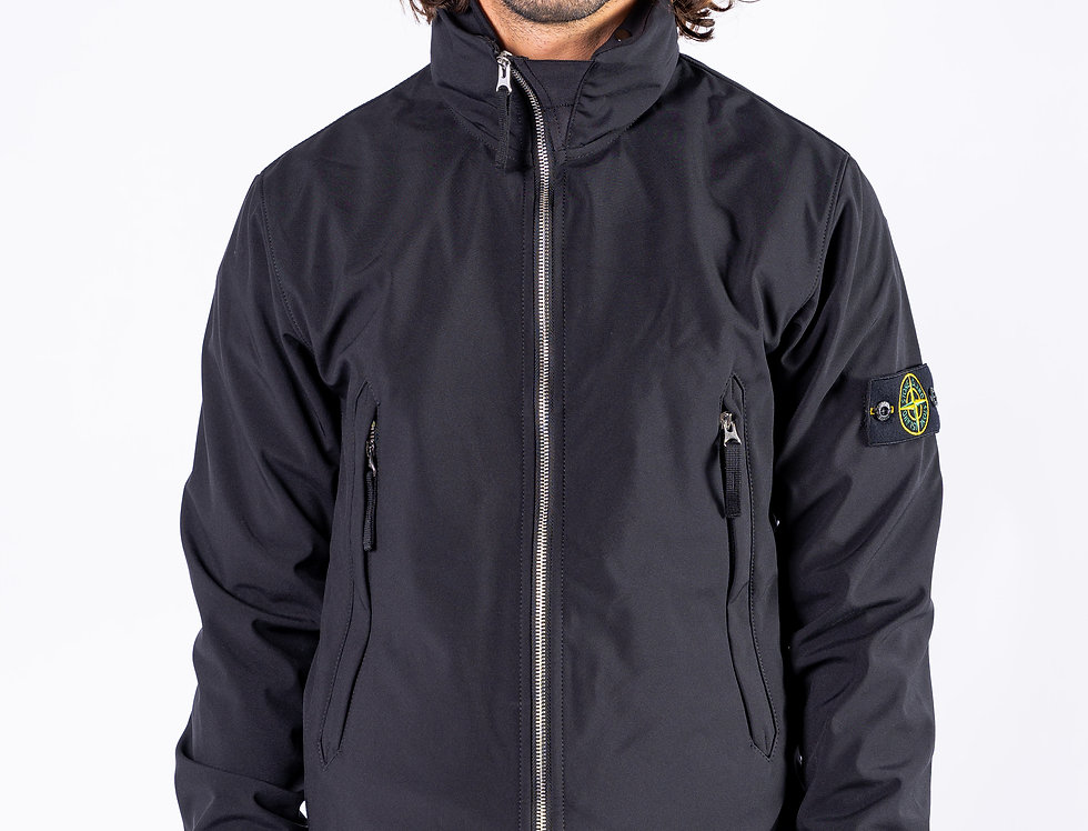 Stone Island SS20 Black Soft Shell front view