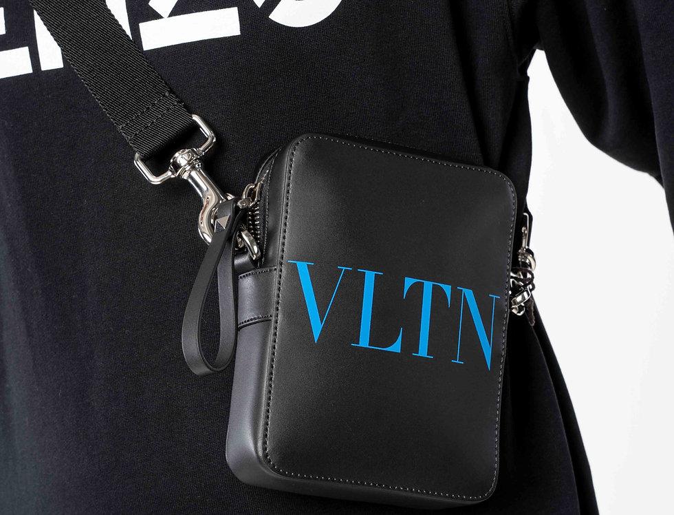 "Valentino Black Crossbody Bag ""VLTN"" Blue"