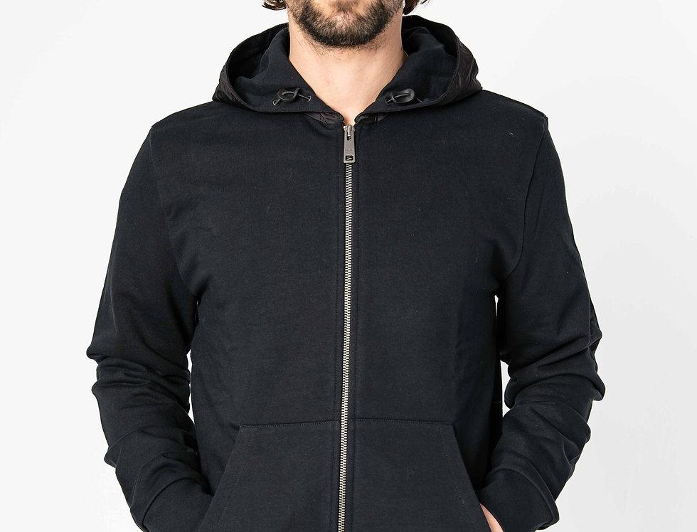 Prada Tracksuit Hoodie With Nylon Hood In Black