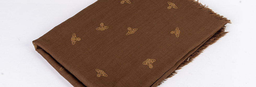 Vivienne Westwood Embroidered Scarf In Brown front view