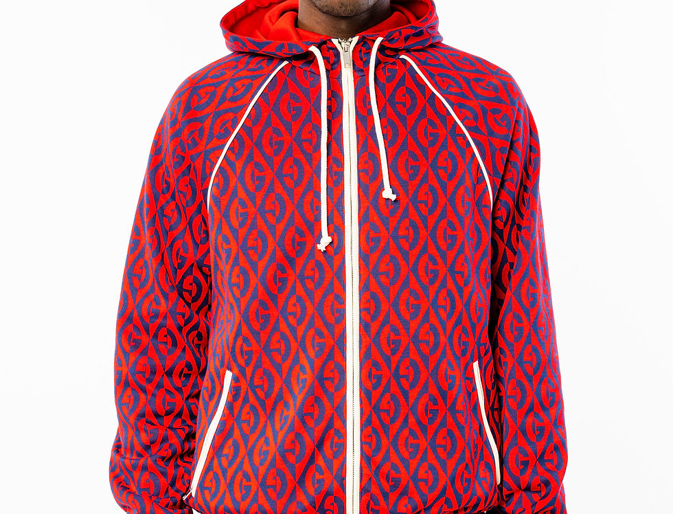 Gucci Red And Blue G Rhombus Zipped Hoodie