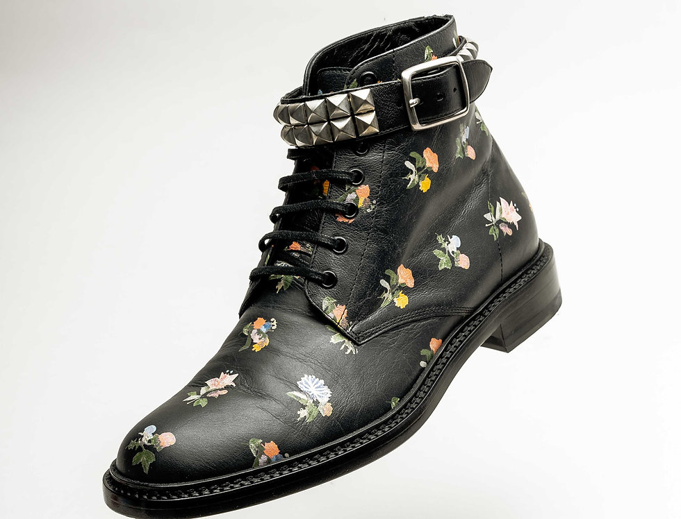 Saint Laurent Paris Ladies Studded Flower Boot