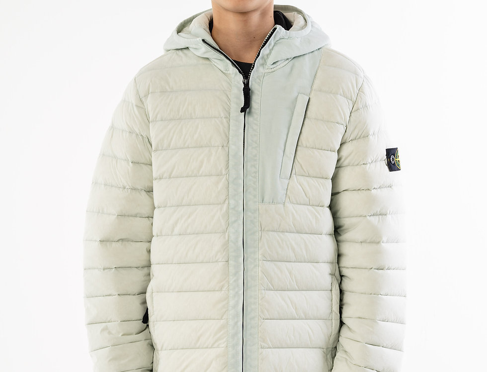 Stone Island Junior Off White Down Jacket With Hood