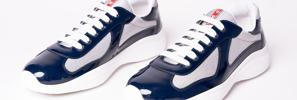 Prada Americas Cup Sneakers In Navy & Silver front view