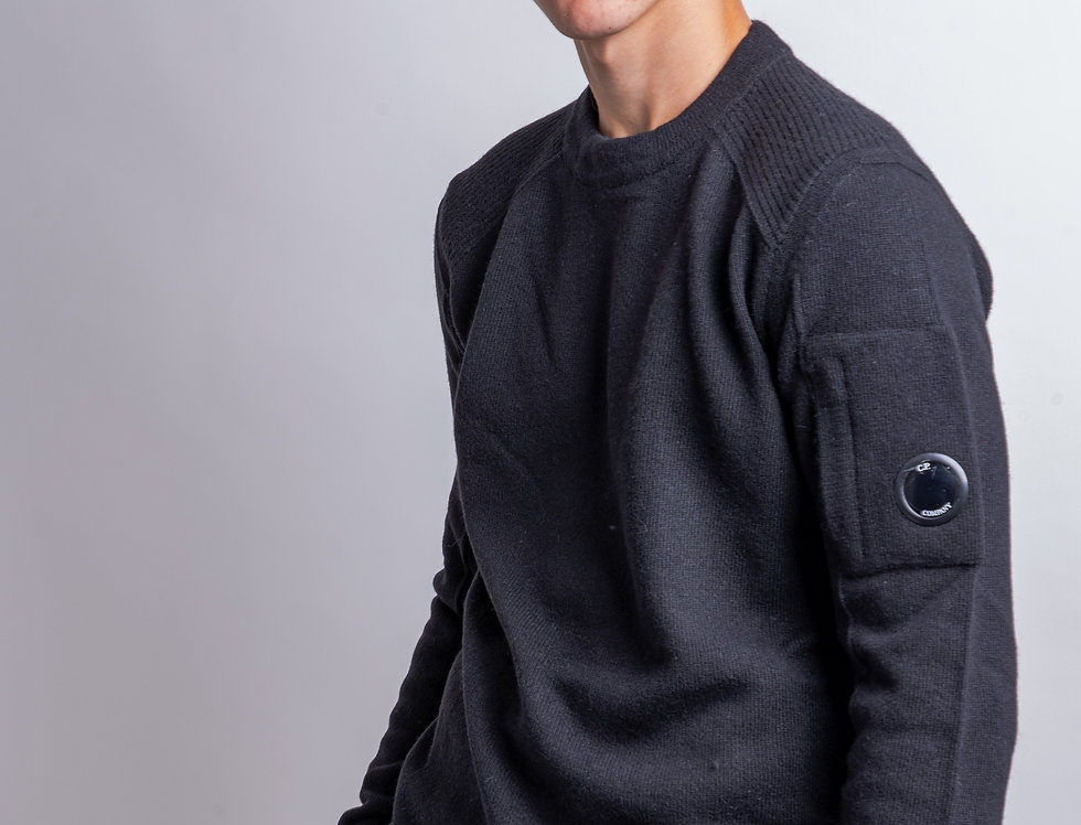 C.P. Company AW19 Black Lambswool Knit front view
