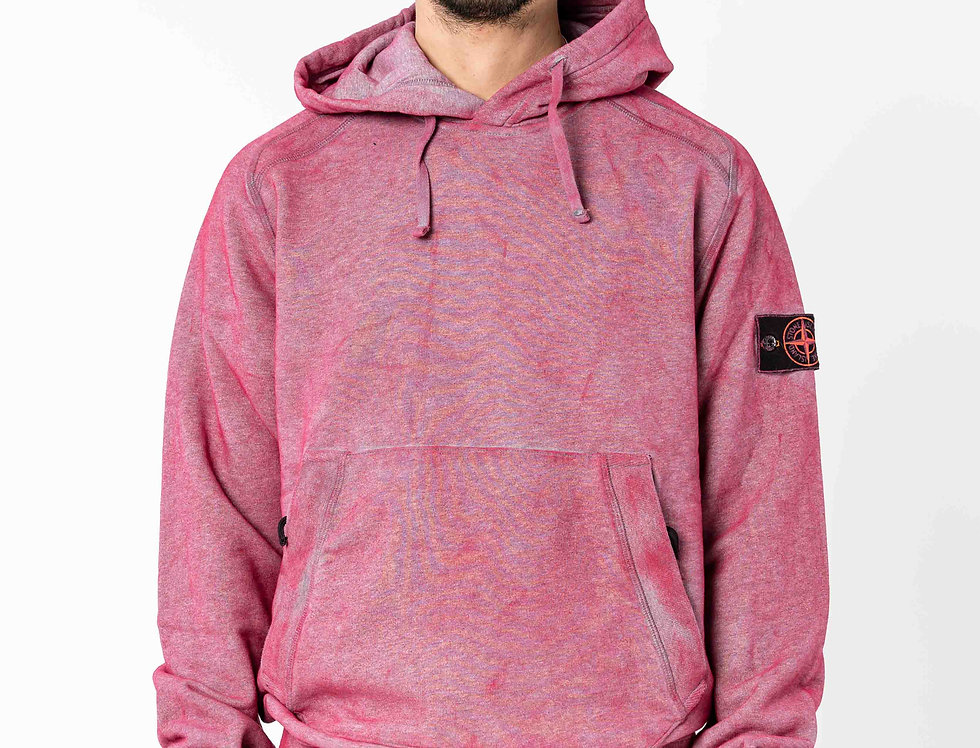 Stone Island Dust Colour Treatment Pink Hooded Sweatshirt