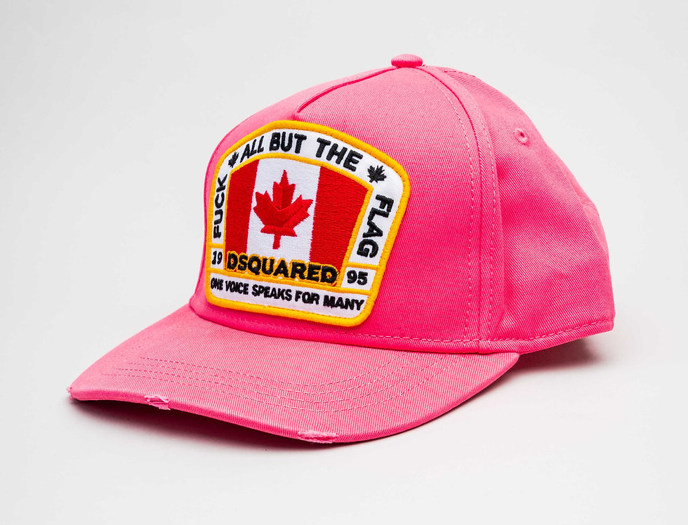 "Dsquared2 ""Canada Flag"" Cap In Pink"