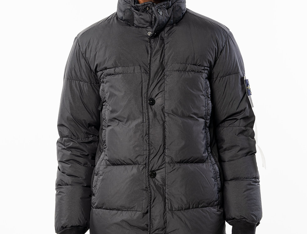 Stone Island Black Garment  Dyed  Crinkle  Reps NY down Jacket