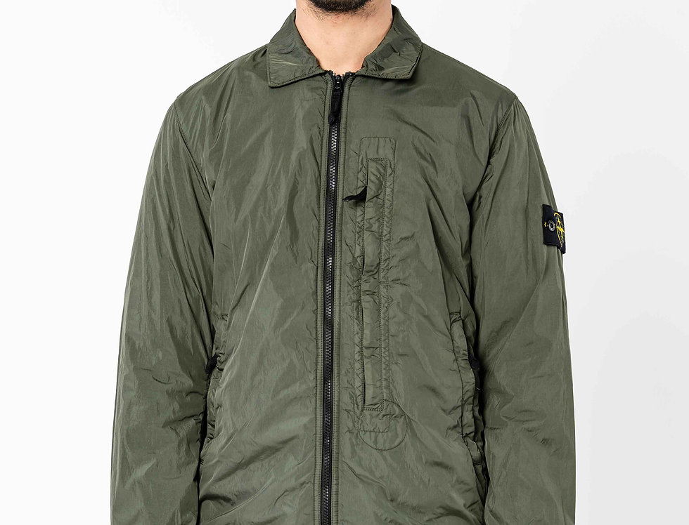 Stone Island Garment Dyed Crinkle Reps NY Overshirt In Dark Forest
