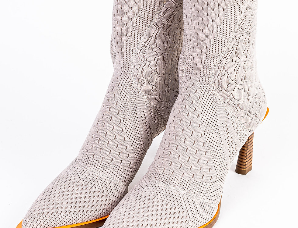 Fendi FFrame Jacquard Pointed Boots front view