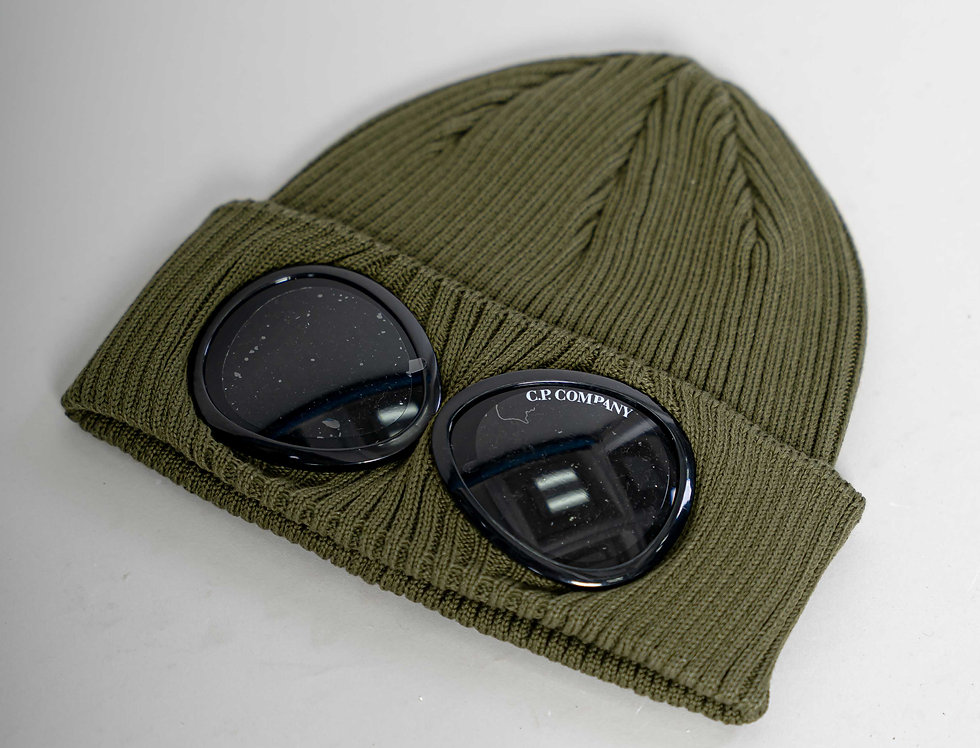 C.P. Company SS21 Goggle Knit Hat In Olive Branch