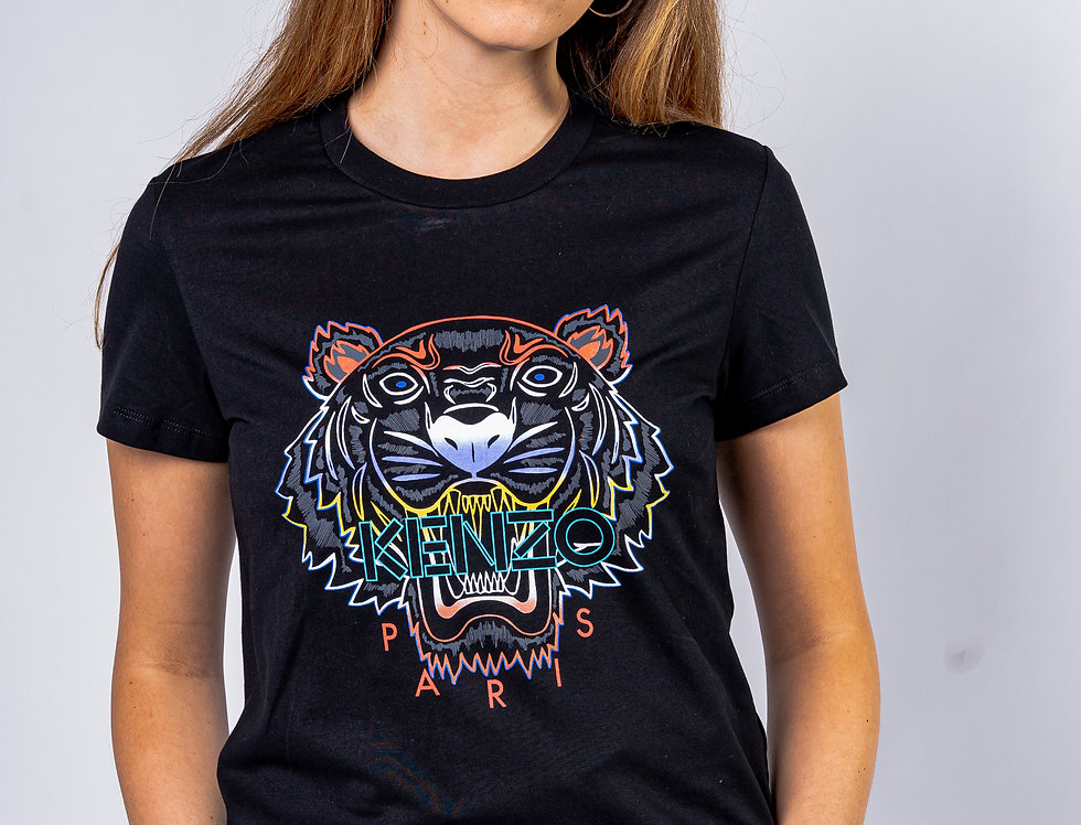 Kenzo Ladies 'Tiger' T-shirt In Multicoloured front view