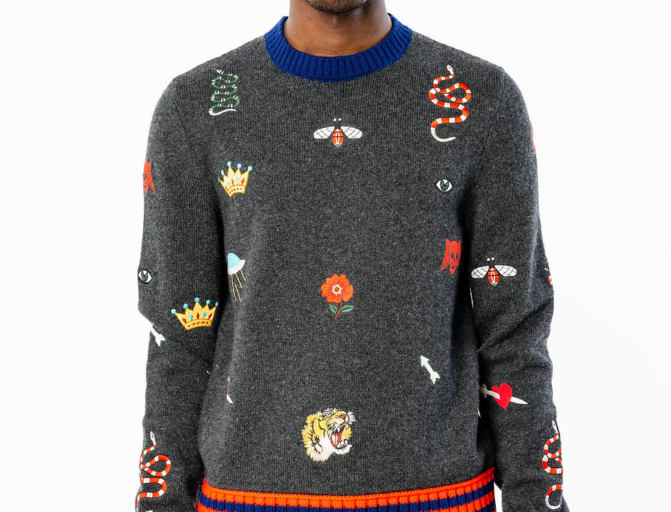 Gucci Wool Jumper With Embroidered Patches