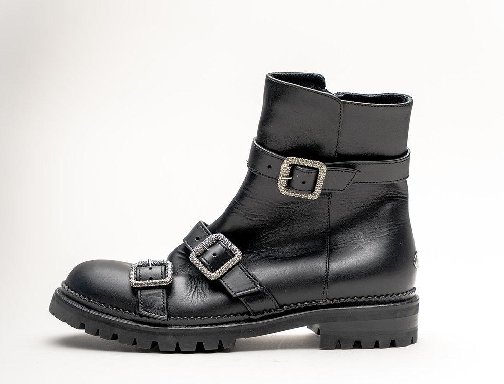 Jimmy Choo Ladies Hank Flat Boot In Black Leather