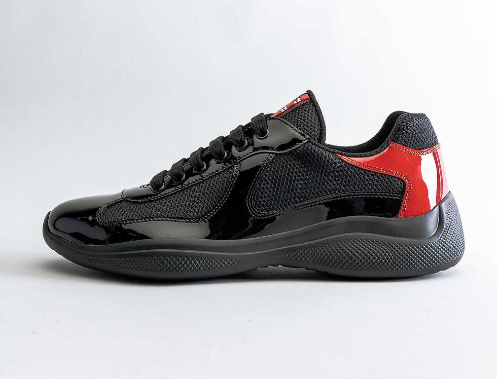 Prada Americas Cup Sneakers In Black & Red Patent