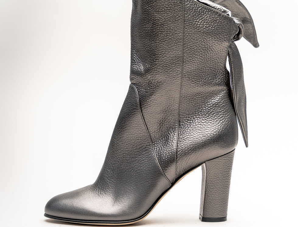 Jimmy Choo Ladies Malene 85 Boot In Anthracite Metallic Grained Leather