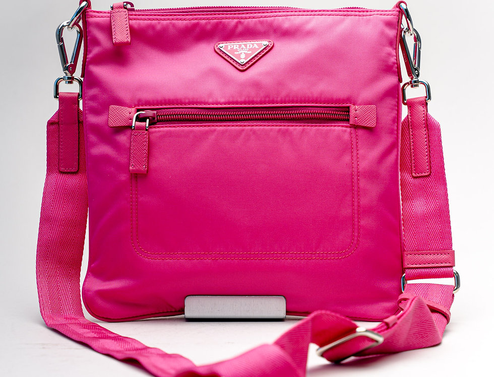 Prada Nylon Crossbody Bag in Pink