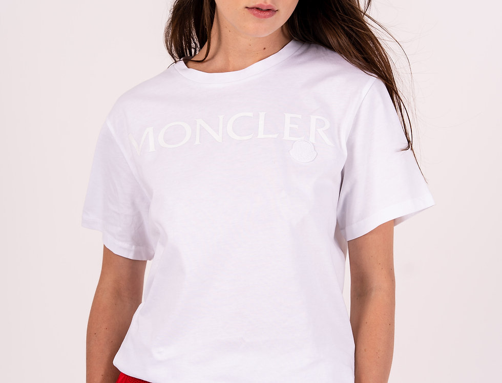 Moncler Ladies Logo T-Shirt In White front view