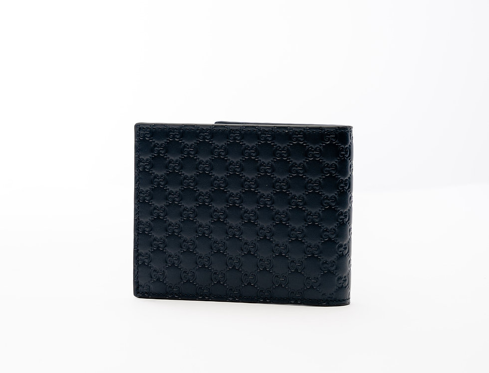Gucci Leather Wallet In Navy