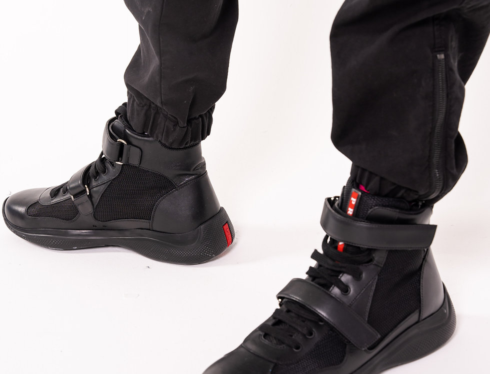 Prada Americas Cup High Tops In Triple Black