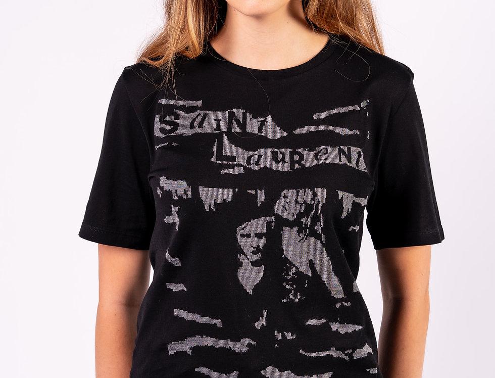 Saint Laurent Paris - Ladies Logo T-Shirt In Black front view