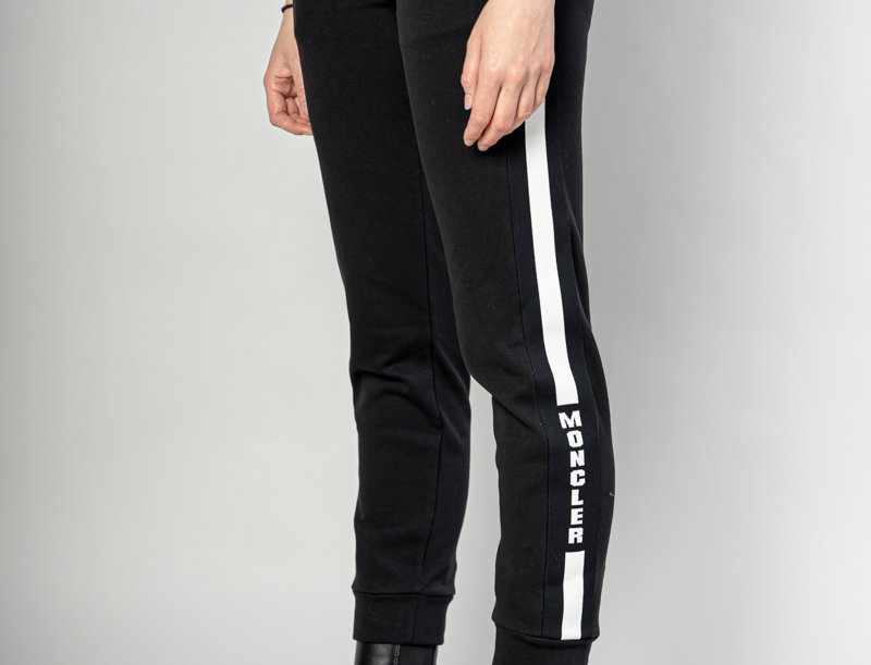 Moncler Striped Sweatpant in Black