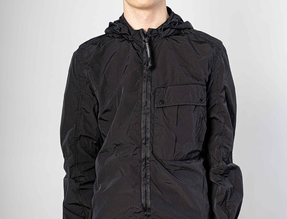 C.P. Company SS21 Chrome-R Mixed Garment Dyed Goggle Overshirt in Black