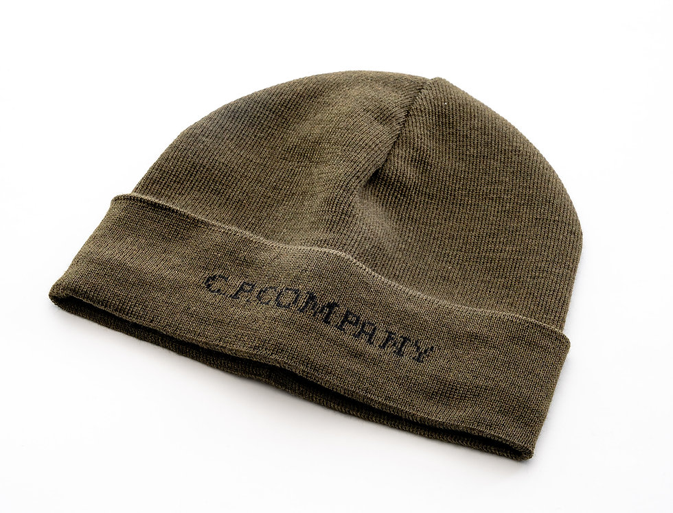 C.P. Company AW20 Merino Wool Jacquard Hat In Ivy Green