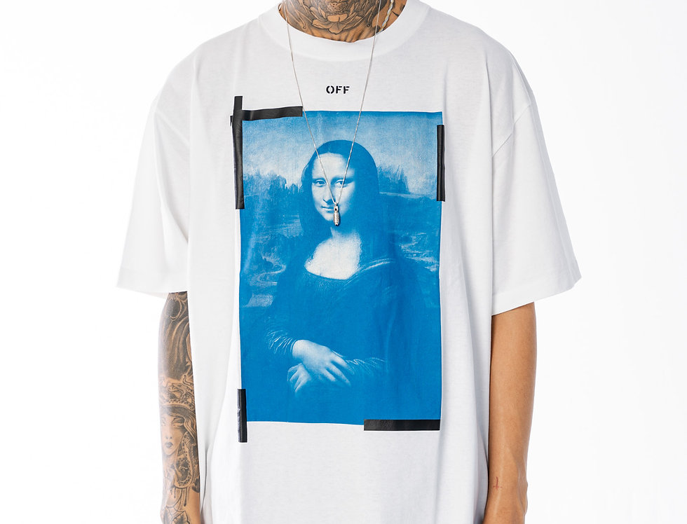 Off-White Blue Monalisa Oversize Tee In White And Black
