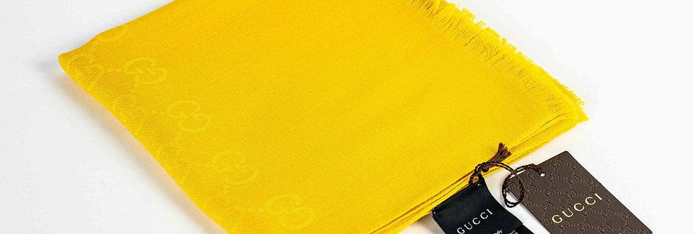 Gucci Silk Wool Mix Yellow Scarf