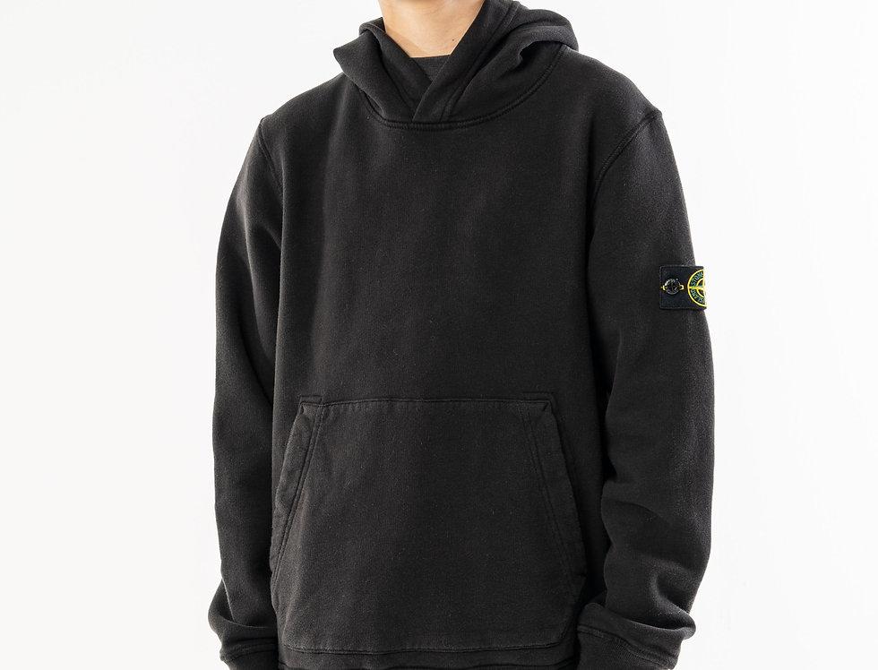 Stone Island Junior Black Hooded Sweatshirt