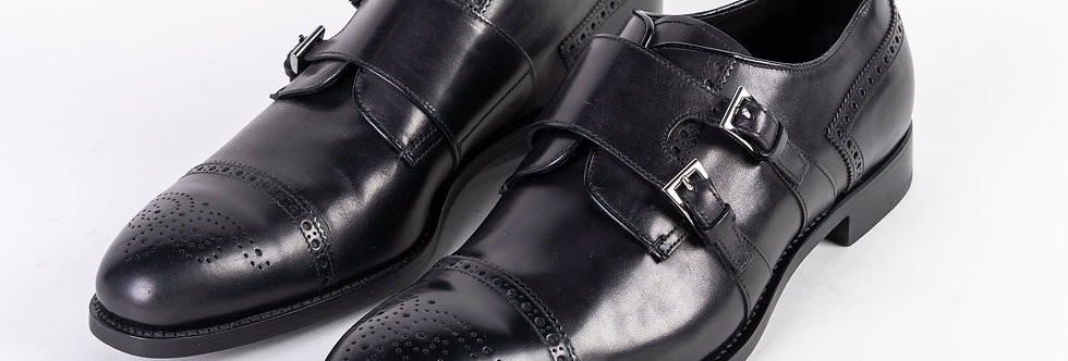 Prada Strapped Brogue In Black front view