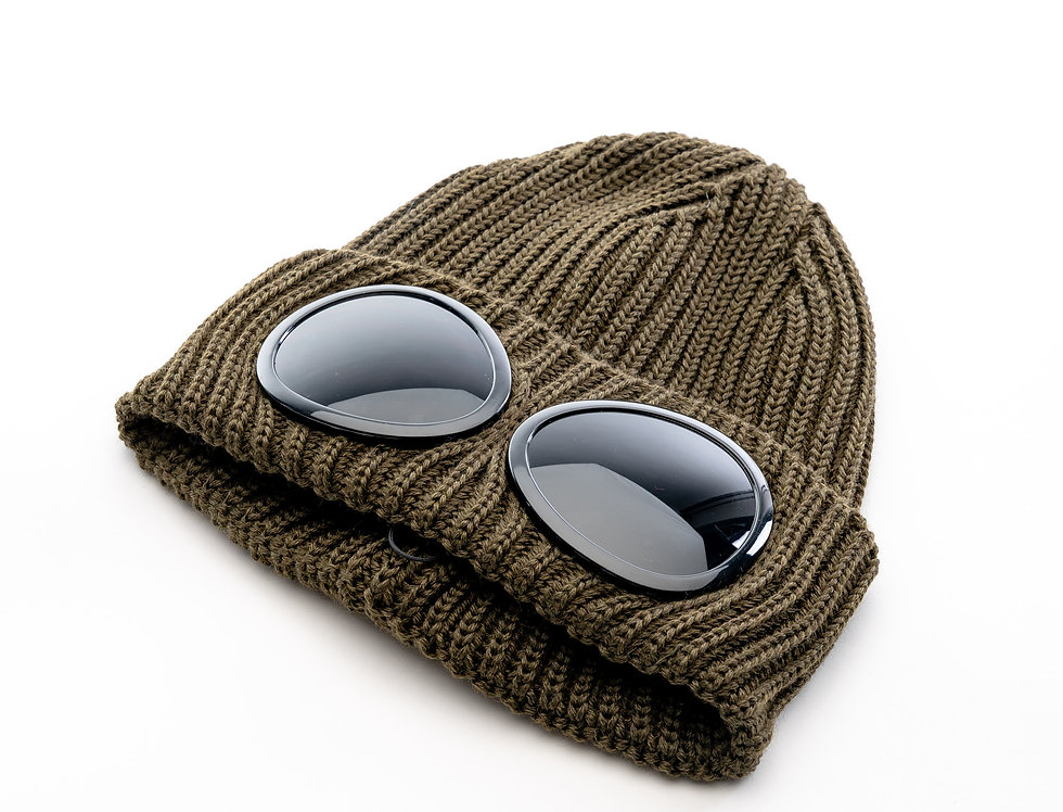 C.P. Company AW20 Goggle Knit Hat In Ivy Green
