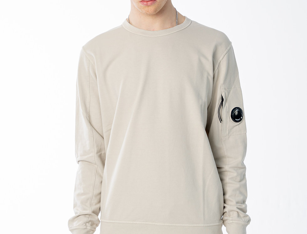 C.P. Company SS21 Light Fleece Garment Dyed Lens Sweatshirt in Moonstruck Grey