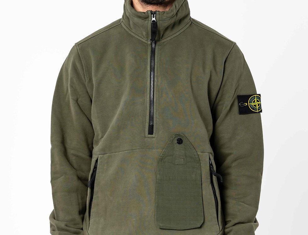 Stone Island Half Zip Sweatshirt In Dark Forest