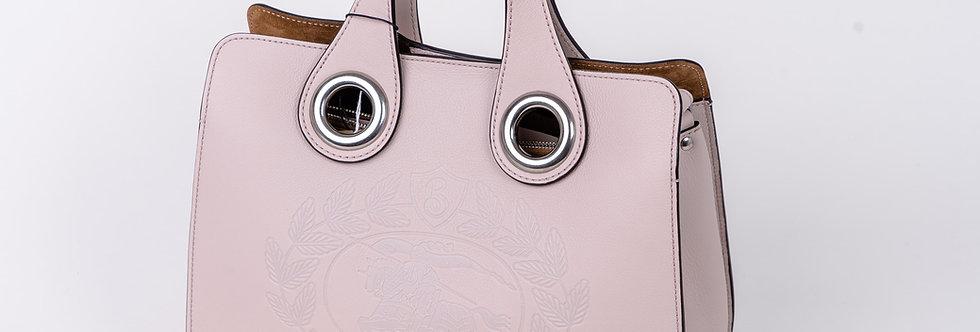 Burberry Ladies Small Grommet Bag in Pink handle view