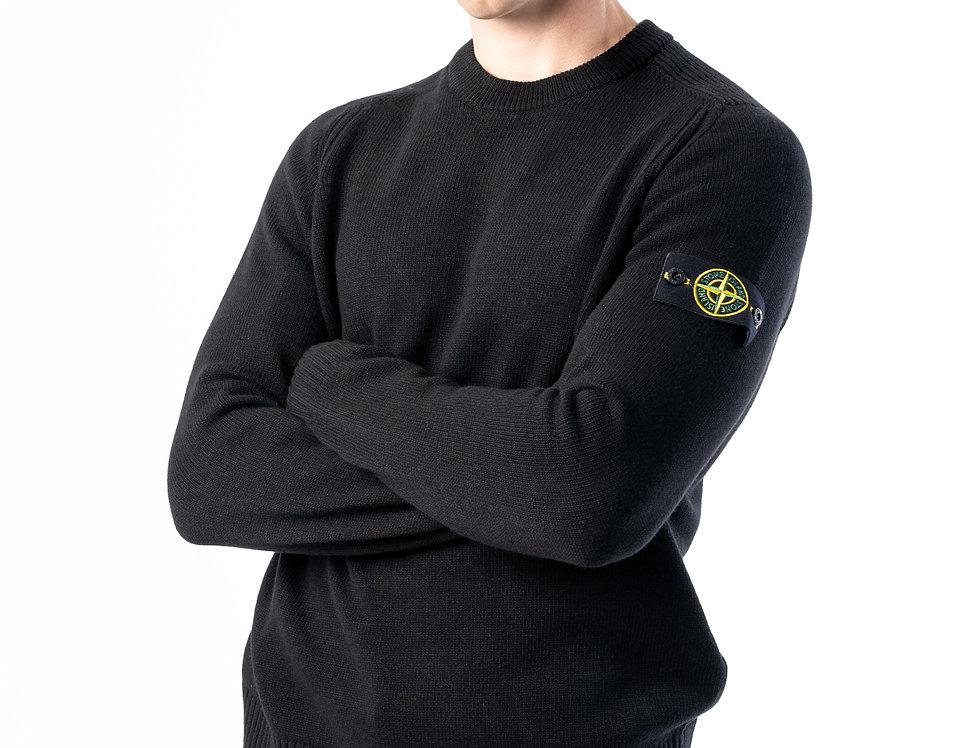 Stone Island Lambswool Knit In Black