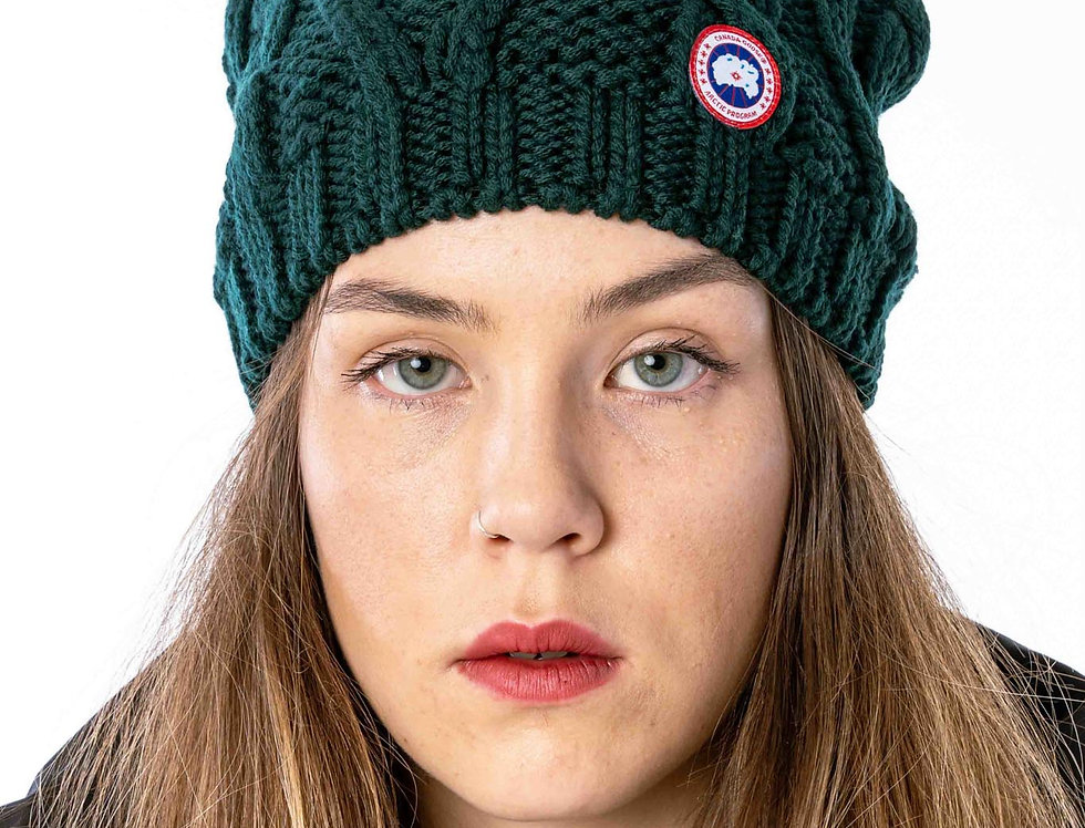 Canada Goose Chunky Cable Knit Beanie In Algonquin Green