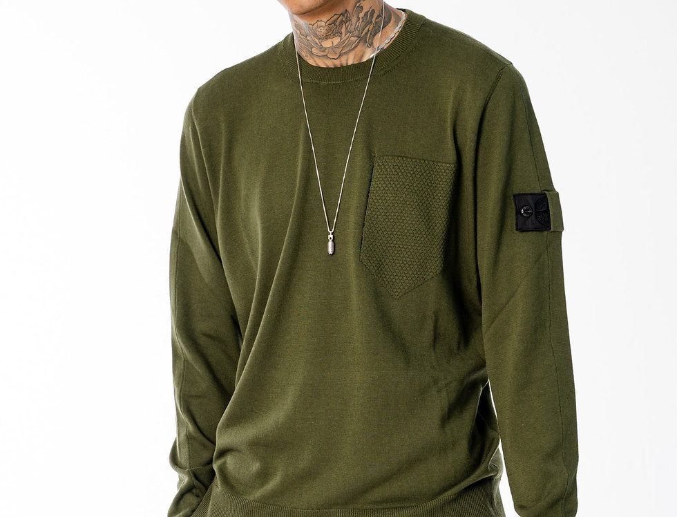 Stone Island Shadow Project Catch Pocket Crewneck Knit In Olive Green