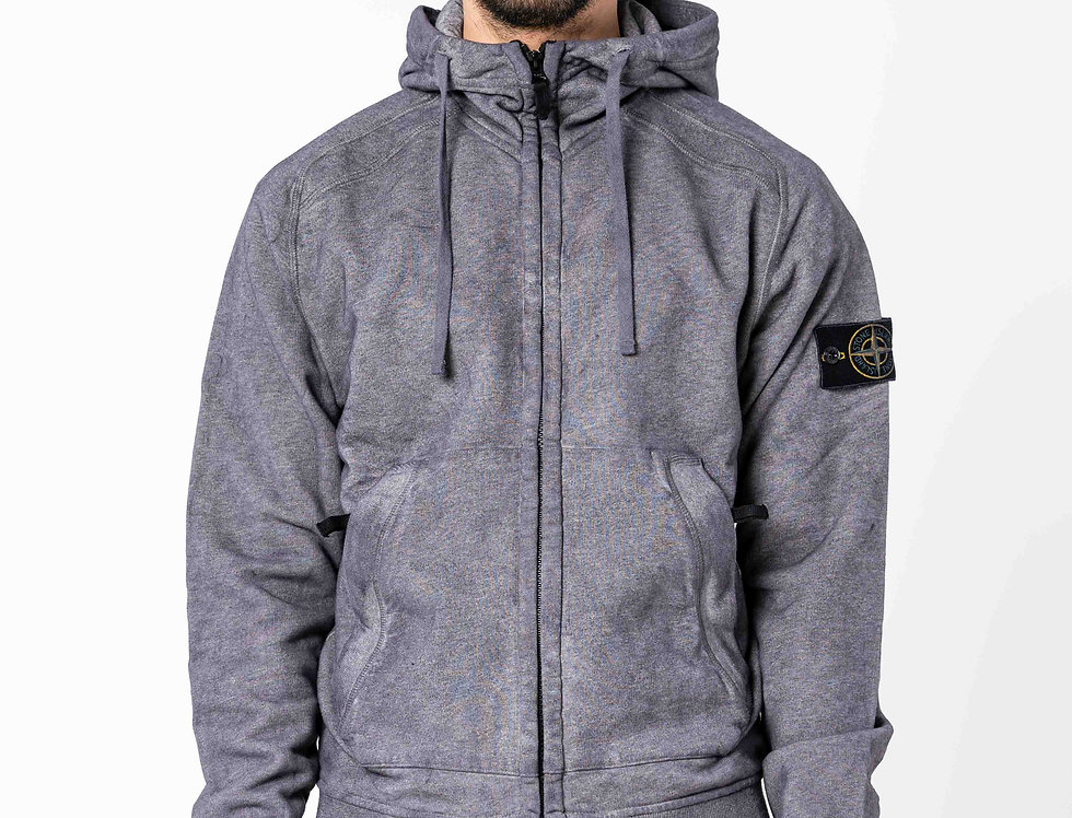 Stone Island Dust Colour Treatment Grey Hooded Sweatshirt