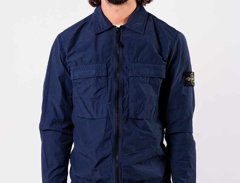 Stone Island SS20 Blue Overshirt front view